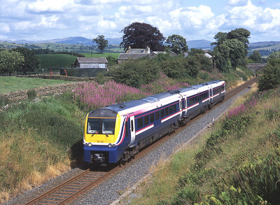 175102 forms an Oxenholme-Windermere shuttle near Bowston 18/7/04.