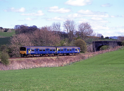 150145 approaches Staveley with an Oxenholme-Windermere service 6/5/01.