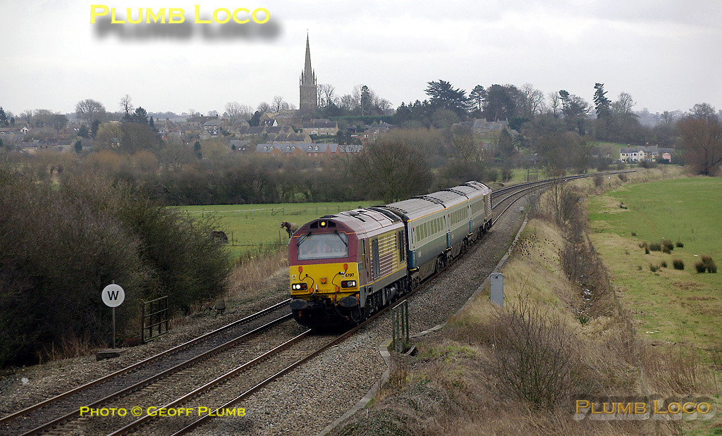 """67017 """"Arrow"""" and 67016 top & tail 5Z10, the return run of the first crew training run for the Wrexham, Shropshire & Marylebone Railway train crews. It should have run earlier at 08:33 to Marylebone from Banbury but actually ran (still as 5Z63) on a VSTP basis to Hinksey Yard, leaving Banbury at 11:29. It is seen here on the return at King's Sutton at 12:35. The second run to Marylebone at 14:02 from Banbury also did not run, another round trip to Hinksey Yard being undertaken instead... Digital Image No. IMGP3872."""