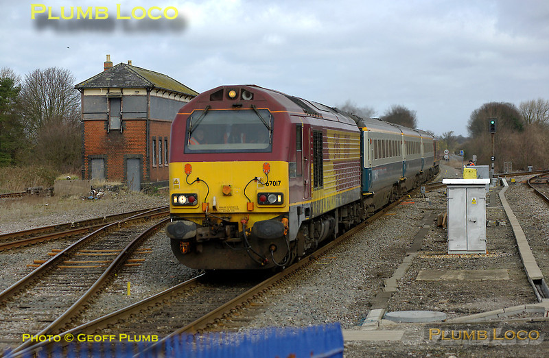 """67017 """"Arrow"""" is now on the south end of the train and 67002 has been replaced by 67020 on the other end as 5Z63, the 08:33 Banbury to Marylebone crew training run for the Wrexham & Shropshire railway, comes through Princes Risborough at 09:15 on Wednesday 12th March 2008. Digital Image No. IMGP4039."""