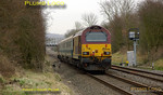 67020 is on the rear of the train with 67017 on the front as the WS&MR training run heads towards Marylebone near Kingsey with 5Z63, 08:33 from Banbury, on time at 09:07 on Thursday 13th March 2008. Digital Image No. IMGP4052.