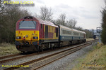 "The WS&MR trainer ran for the second time on the afternoon of Monday 25th February 2008, a different formation from the previous Friday, 67017 ""Arrow"" leading and 67016 on the rear of the three MkIII first class coaches. Running as 5Z23, 14:02 Banbury to Marylebone, it is passing Kingsey at 14:45, about 15 minutes late, so not in its timetabled path (unless this has been changed). Digital Image No. IMGP3906."