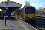 "The first morning run of the Wrexham, Shropshire & Marylebone Railway crew training special took place on Tuesday 26th February 2008. This was 5Z63, the 08:33 from Banbury to Marylebone, here passing Princes Risborough station, on time at 09:13, with 67017 ""Arrow"" on the front of the three coach train and 67016 on the rear. Digital Image No. IMGP3916."