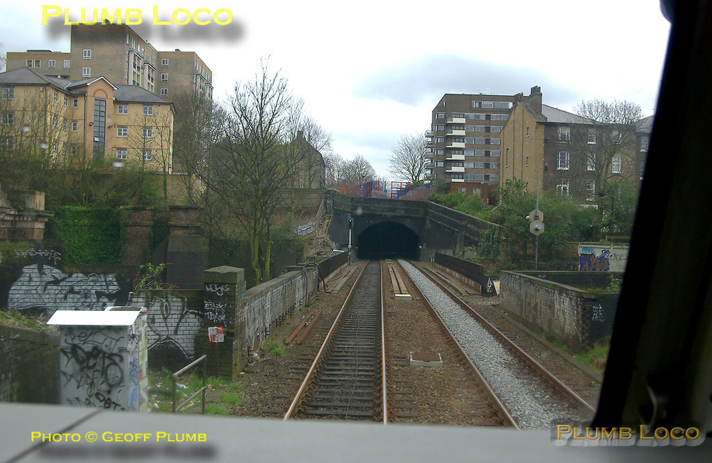 View from the cab of 67020 as the train approaches the bridge over the WCML and St. John's Wood tunnel on the approach to Marylebone. 15:18, Wednesday 2nd April 2008. Digital Image No. IMGP4248.