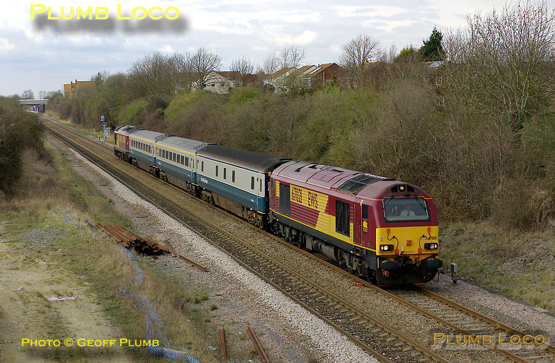 With the present Haddenham & Thame Parkway station in the background, 67021 & 67016 pass the remains of the original station as they make their way up to Marylebone as 5Z23, the 14:02 from Banbury, the afternoon Wrexham & Shropshire crew training run. 14:23, Wednesday 19th March 2008. Digital Image No. IMGP4076.
