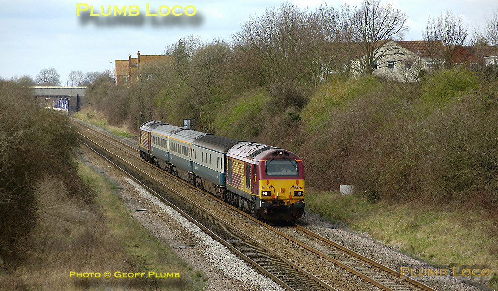 With the present Haddenham & Thame Parkway station in the background, 67021 & 67016 pass the remains of the original station as they make their way up to Marylebone as 5Z23, the 14:02 from Banbury, the afternoon Wrexham & Shropshire crew training run. 14:23, Wednesday 19th March 2008. Digital Image No. IMGP4074.