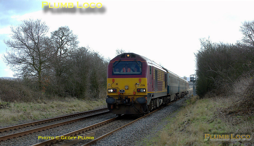 This was the first run of the down morning Wrexham training trip, 5Z10, the 10:17 Marylebone to Banbury train, three coaches topped and tailed by 67016 and 67017. It is seen here from a public footpath across the line near Kingsey, running on time at 11:03 on Tuesday 26th February 2008. Digital Image No. IMGP3917.