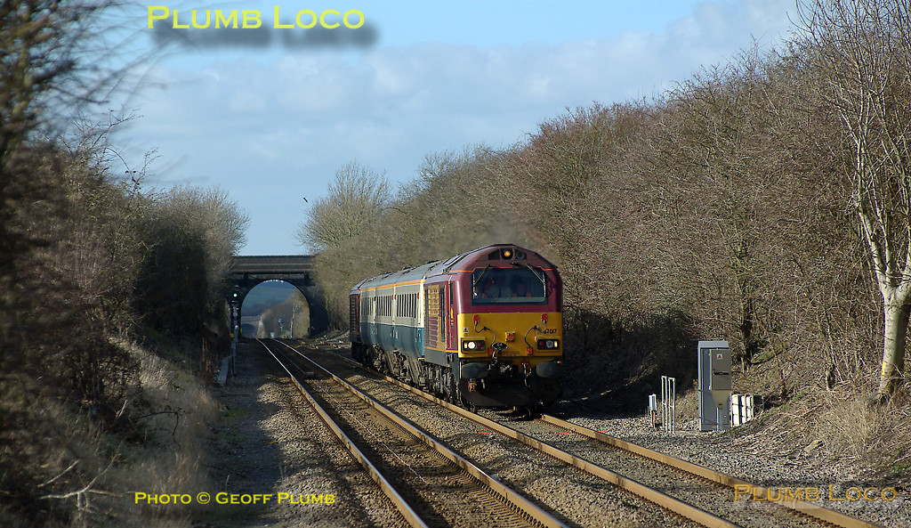 """The afternoon working of the Wrexham crew trainer approaches Haddenham & Thame Parkway station at 14:45 on Tuesday 26th February 2008, topped and tailed by 67017 """"Arrow"""" and 67016, with three Cargo-D coaches. This is 5Z23, the 14:02 from Banbury to Marylebone, running in beautiful sunshine for a change! Digital Image No. IMGP3919."""