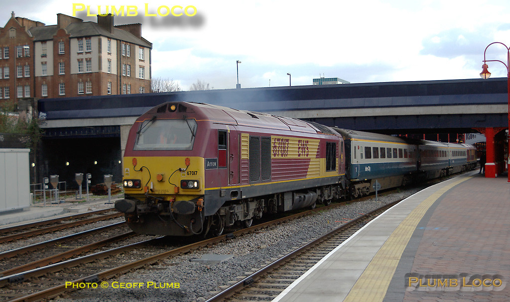 """At 16:10 67017 """"Arrow"""" starts away from Marylebone station, 67002 dead on the rear, with 5Z16, the Wrexham crew training run returning to Banbury. Tuesday 4th March 2008. Digital Image No. IMGP3998."""