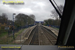 View from the cab of 67020 as the train approaches King's Sutton station at 14:05, a flashing yellow signal ahead to indicate taking the Chiltern line at Aynho Junction. Digital Image No. IMGP4199.