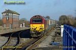 "The first morning run of the Wrexham, Shropshire & Marylebone Railway crew training special took place on Tuesday 26th February 2008. This was 5Z63, the 08:33 from Banbury to Marylebone, seen passing the old Princes Risborough North Signalbox and approaching the station, on time at 09:13, with 67017 ""Arrow"" on the front of the three coach train and 67016 on the rear. Digital Image No. IMGP3914."