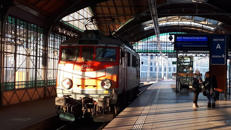 Our loco backing on to the 'Kamiencz' at Wroclaw which had started its long and steady journey in Poznan.