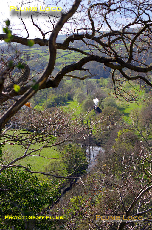 """""""Black 5 """" 45428 is working along the Esk Valley line towards Sleights with the 16:10 train from Goathland to Whitby at 16:44 on Tuesday 12th April 2011. Not the easiest of lines to get shots of! Digital Image No. GMPI8640."""