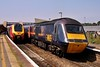 43111 & 43116 09:25 Newquay to Newcastle at Bristol Parkway 31/7/2004.