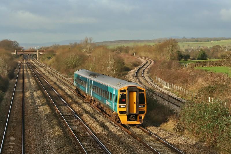 158833 09:15 Maesteg to Cheltenham Spa at Bishton 23/01/2012.