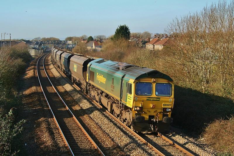 66527 4Z97 Port Talbot Grange to Stoke Gifford at Pyle 01/02/2012.
