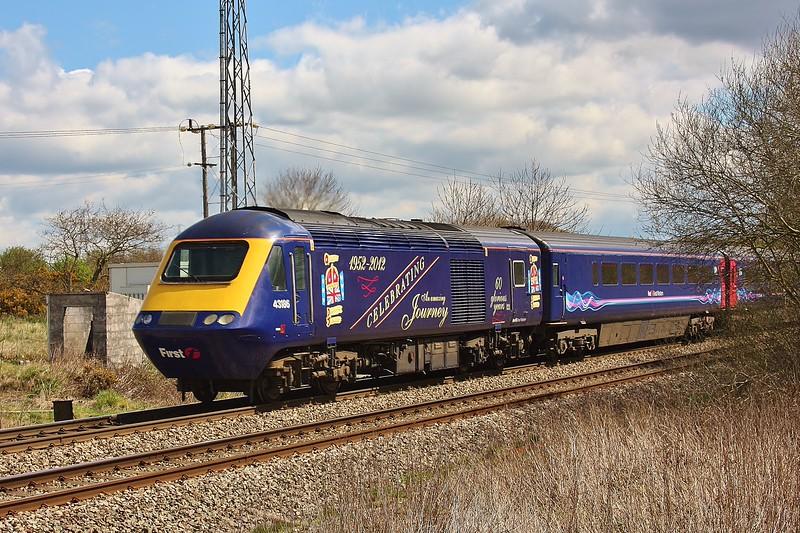 43186 & 43021 1L55 11:28 Swansea to London Paddington at Kenfig 27/4/13.