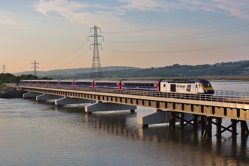 43186 & 43156 5L42 Landore to Carmarthen crosses the new Loughor Bridge 08/07/13.