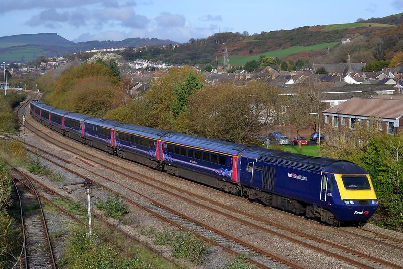 43160 + 43149 1L66 13:28 Swansea to London Paddington at Briton Ferry 15/11/14.