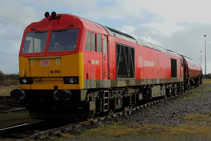 60001 stands at Margam Yard in a brief spell of sunshine following a torrential downpour with 6B10 to Robeston 09/02/14.