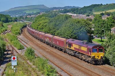 66155 6E09 Onllwyn to Immingham at Briton Ferry 19/7/16.