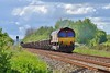 66039 top and tail 66013 6W40 Carmarthen Bridge to Westbury at Loughor 22/5/16.