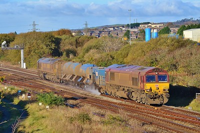 66095 top and tail 66198 3S62 Margam to Margam via West Wales at Llandeilo Junction 5/11/16.