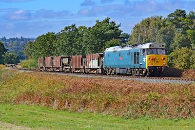 50008 'Thunderer' 12:25 Highley to Kidderminster at Rifle Range Heath 4/10/18.