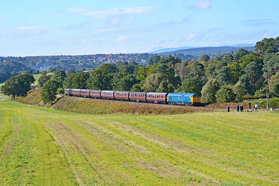 50050 'Fearless' 13:05 Bridgnorth to Kidderminster at Rifle Range Heath 4/10/18.