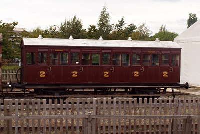 Furness Railway Trust North London Railway 2nd class coach - note the Egremont and Arlecdon destination boards.