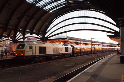 67029 Royal Diamond propels the DB Schenker management train through York, bound for Toton. 28/09/11.