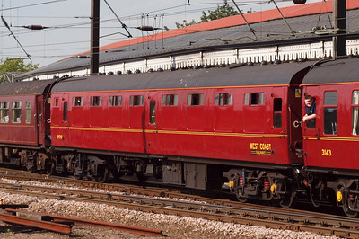 99712, Mk. 1 SK. (now a kitchen car). NB - Mr Tilston having a lean out in 3143.