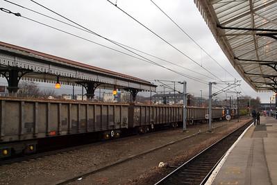 The lengthy scrap train departs York. 05/03/11.