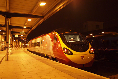 390055 sits in York's platform 9 in the early hours, 13/03/12.