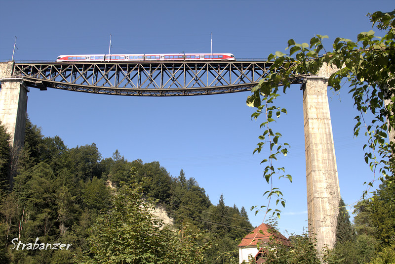 Sitter Viaducts, St. Gallen, Switzerland, 08/29/2017<br /> 99 metres high, 365 metres long, deck-truss bridge with <br /> arched masonry approaches   Built between 1908 and 1910.   <br /> Used by SOB (Sod Ouest Bahn,formerly Bodensee-Toggenburg Railway).<br /> This work is licensed under a Creative Commons Attribution-<br /> NonCommercial 4.0 International License