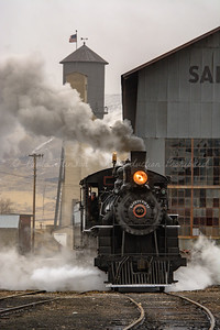 Steam Locomotive in the Railyard
