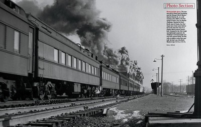 Heavyweights Passing the Chicago & Northwestern Depot at Geneva, Illinois in the 1940s