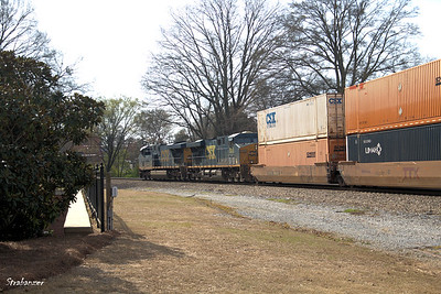 """Touch a Truck -- Two GE """"Evolution Series"""" ES40DC locos haul a container train past Kennesaw Kennesaw, GA,  03/10/2018 This work is licensed under a Creative Commons Attribution- NonCommercial 4.0 International License"""