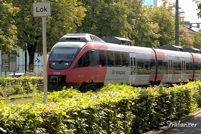 Bregenz, Austria  08/22/2017 OBB 4024 electric multiple unit railcar manufactured  by Bombardier  This work is licensed under a Creative Commons Attribution- NonCommercial 4.0 International License