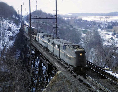 Prototype GG1 4800 and Sister 4848 Crossing Pequea Creek in Martic Forge, PA (February 27, 1966)