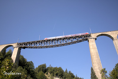 Sitter Viaducts, St. Gallen, Switzerland, 08/29/2017 99 metres high, 365 metres long, deck-truss bridge with  arched masonry approaches   Built between 1908 and 1910.    Used by SOB (Sod Ouest Bahn,formerly Bodensee-Toggenburg Railway). This work is licensed under a Creative Commons Attribution- NonCommercial 4.0 International License