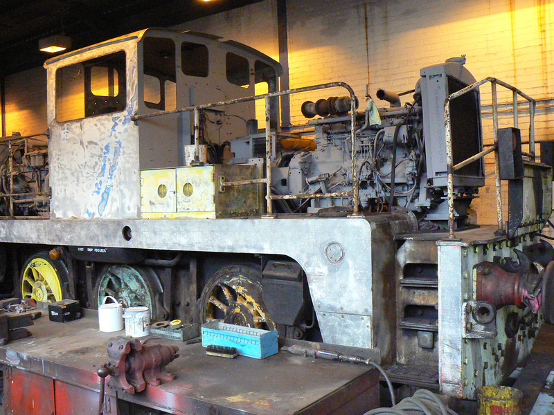 '1' (Yorkshire YE 2877) being overhauled at the AFRPS Shed, Scunthorpe Steelworks. Saturday 3rd April 2010.