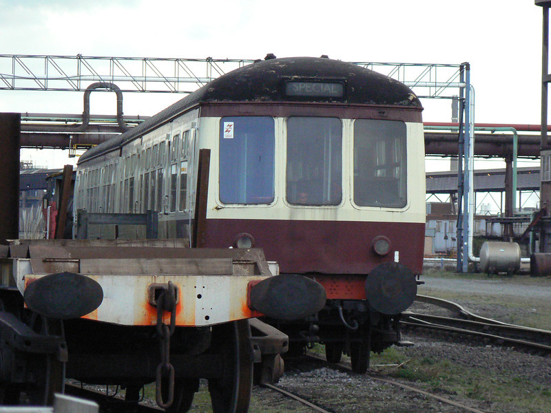 Class 108 DMU vehicles 59245 and 56207 at the AFRPS Shed, Scunthorpe Steelworks. Saturday 3rd April 2010.