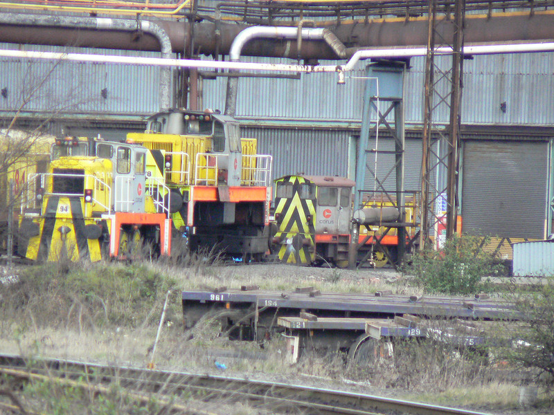 One of the 'High Line' Baguley Drewry locos outside the heavy repair bay at Scunthorpe Steelworks. Saturday 3rd April 2010.