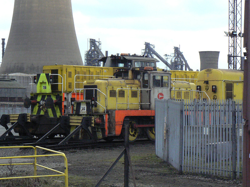 '44' (Yorkshire YE 2768) and '78' (Hunslet HE 7289) up on blocks, without wheelsets, outside the heavy repair bay at Scunthorpe Steelworks. Saturday 3rd April 2010.