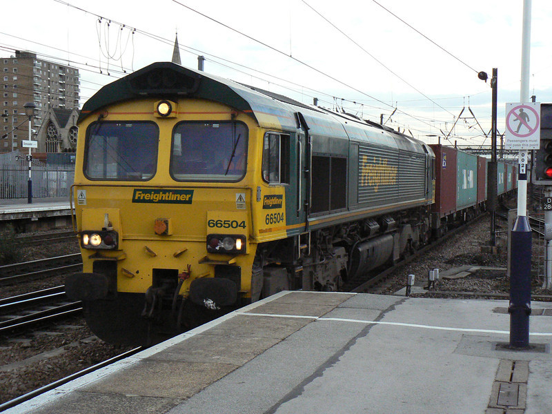66504 on a Northbound Intermodal at Doncaster. Saturday 3rd April 2010.