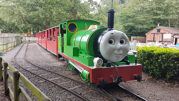 Mettalbau 081366 (Percy 6) at Mrs Kyndley's Tea Rooms station on the Thomas Land railway at Drayton Manor Theme Park. Sunday 11th August 2019.
