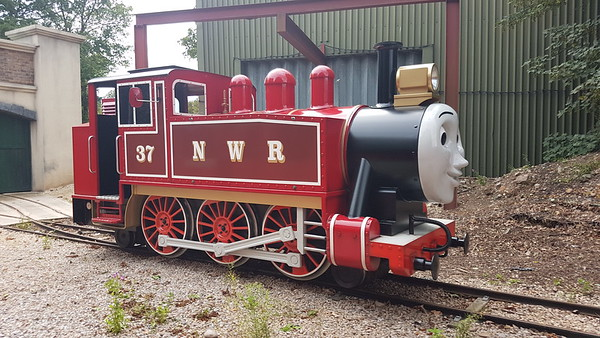 Mettalbau (unknown works number) ('Rosie' 37) outside the shed on the Thomas Land railway at Drayton Manor Theme Park. Sunday 11th August 2019.