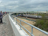 A class 91 streaks North under the new Hitchin Flyover. 11th May 2013.
