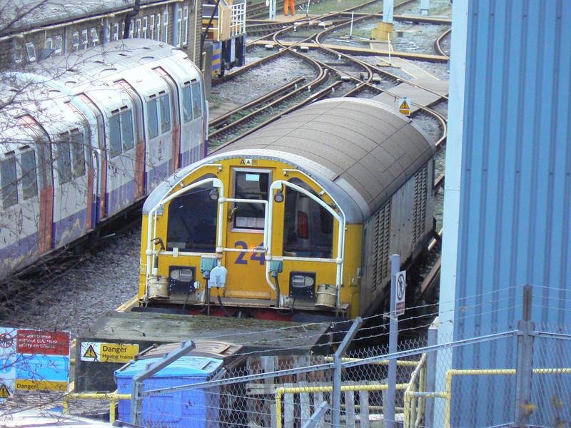 LUL battery loco L24 at Lillie Bridge depot. Sunday 13th January 2013.